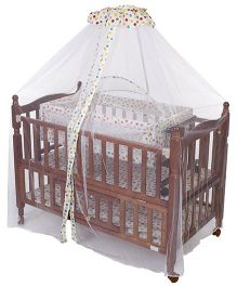 Mee Mee Wooden Crib and Cradle with Mosquito Net - Brown