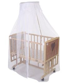Mee Mee Wooden Cradle With Swing & Mosquito Net - Brown