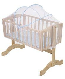 Mee Mee Wooden Cradle with Mosquito Net - Blue