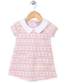 Kiddy Mall Peter Pan Collar Dress - Cream & Peach