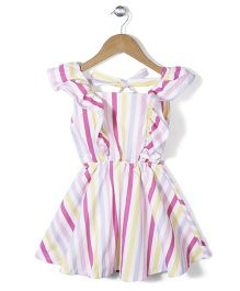 Chic Girls Stripe Printed Dress - Multicolor