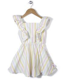 Chic Girls Stylish Stripe Print Dress - Yellow & Pink