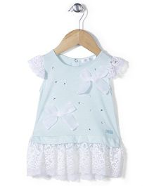AZ Cute Short Sleeve Dress - White & Aqua Blue