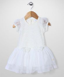 AZ Baby Flower Design Dress - White