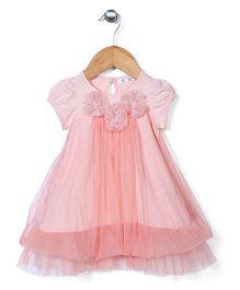 AZ Baby Dress With Flower Applique - Peach