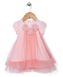 AZ Baby Dress With Flower Applique - Peach