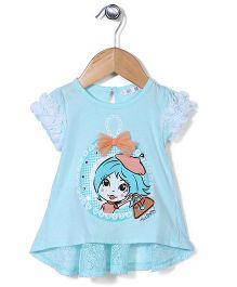 AZ Baby Doll Print Top - Aqua Blue