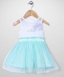 AZ Baby Dress With Flower Applique - White & Aqua