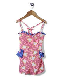 Chic Girls Heart Print Jumpsuit - Pink