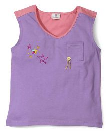 Hallo Heidi Star Print Tee - Purple