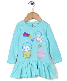 Hallo Heidi Space Cat Print Dress - Aqua Blue