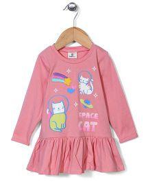 Hallo Heidi Space Cat Print Dress - Peach
