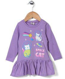 Hallo Heidi Space Cat Print Dress - Purple