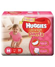 Huggies Ultra Soft Pants Medium Size Premium Diapers For Girls - 30 Pieces