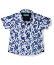 Palm Tree Half Sleeves Floral Print Shirt - White Blue