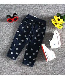 Lil Mantra Star Printed Pants - Navy Blue