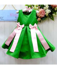 Lil Mantra Sleevless Party Dress With Bows - Green