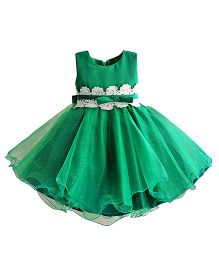 Lil Mantra Flair Skirt Party Dress - Green