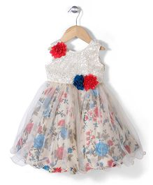 Bluebell Party Wear Frock Floral Applique - Off White