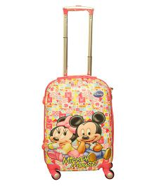 Disney Mickey And Minnie 3 D Design Trolley Bag Multicolor - 20 Inches