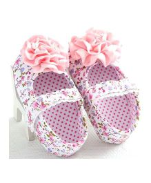 Little Hip Boutique Satin Floral Walkers - Baby Pink