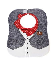 Little Hip Boutique Collar Denim Bib - Red