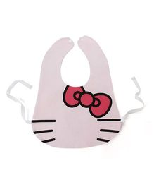 Little Hip Boutique Kitty Waterproof Bib With Tie On Belt  - Light Pink