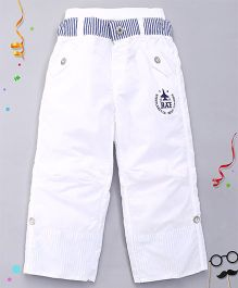 Kidsplanet Solid Pattern Pant - White & Blue