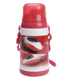 Water Bottle Bullet Train Print Red - 450 ml