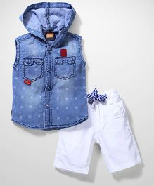 Little Kangaroos Sleeveless Hooded Shirt And Shorts - Blue White