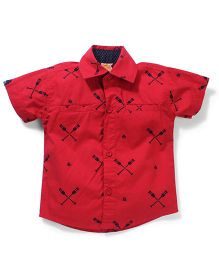 Little Kangaroos Half Sleeves Printed Shirt - Red