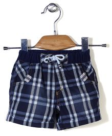 Little Kangaroos Check Shorts With Drawstring - Blue