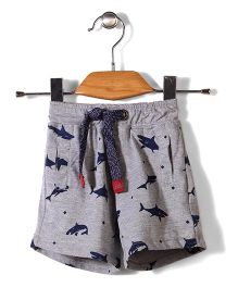 Little Kangaroos Shorts With Drawstring Fish Print - Grey