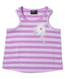 Hallo Heidi Top With Flower Embroidery Medal & Big Strip Print - Purple