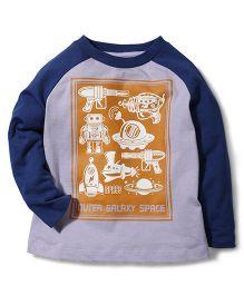 Hallo Heidi Outer Galaxy Space Print T-Shirt - Blue & Grey