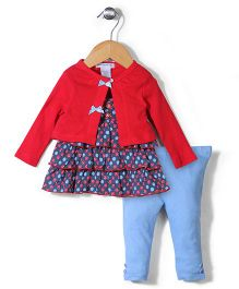 Mon Caramel Top Leggings & Shrug Set - Red & Blue