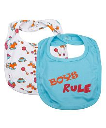 Kidsmode Organic Cotton Bibs Set of 2 - Blue White