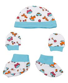 Kidsmode Organic Cotton Cap Booties And Mittens Set - Multicolour