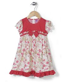 De Berry Flower Print Dress - Red