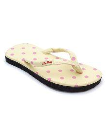 De Berry Polka Dot Print Slippers - Yellow