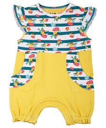 Kidsmode Organic Cotton Romper Floral Print - Yellow