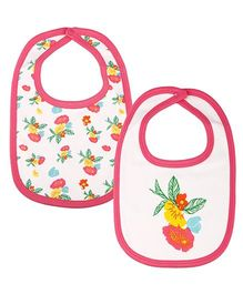 Kidsmode Organic Cotton Bibs Pack of 2 - Pink White