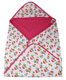 Kidsmode Organic Cotton Hooded Wrapper Multiprint - Pink White