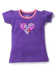 Tantra Contrast Neckline Top Heart Print - Dark Violet