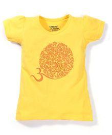 Tantra Short Sleeves Circular Floral Print Top - Yellow