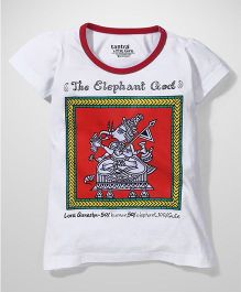 Tantra Contrast Neckline Ganesha Print Top - White