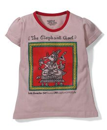 Tantra Contrast Neckline Ganesha Print Top - Beige