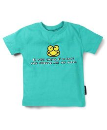 Tantra Half Sleeves T-Shirt Text Print - Sea Green