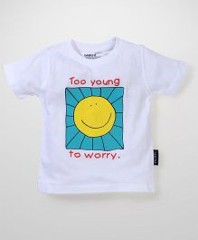 Tantra Half Sleeves T-Shirt Text Print - White