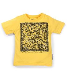 Tantra Half Sleeves Graphic Print T-Shirt - Yellow
